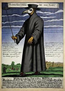 Paul Fürst, le docteur Schnabel (bec) de Rome. Gravure du 17e siècle colorisée