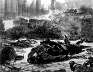 """Pendant le siège de Paris, en 1870, E.Manet mit sa famille en sécurité à Oloron. Il vint la chercher en février 1871 mais ne rentra à Paris qu'au moi de mai. et n'arrive à Paris qu'au mois de mai. Sa lithographie """"La guerre civile""""marque son indignation pour le caractère sauvage de la répression durant """"la semaine sanglante""""."""