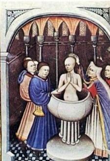 Le baptême d'Abraham. manuscrit du XVe siècle. Bibliothèque de l'Arsenal-Mandragore